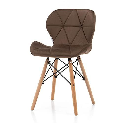 World of Chairs Schalenstuhl im Skandi-Stil, H 74 X B 47 x T 42 cm, Polsterbezüge aus Kunstleder, Beine aus Buchenholz verstärkt mit pulverbeschichtetem Metallgestell x4