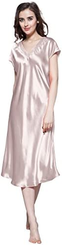 LilySilk Women s 100 Silk Nightgown Long V Neck 22 Momme Mulberry Silk Chemise M 8 10 Rosy Pink product image