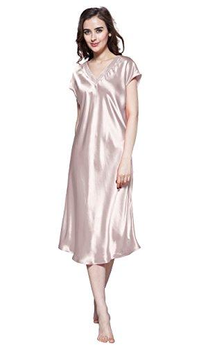 LilySilk Seide Nachtkleider Maulbeerseide V Ausschnitt Nachthemd Damen Lang 22 Momme (M, Altrosa) Verpackung MEHRWEG