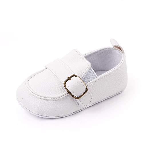 Ortego Weiß Baby Schuhe Junge 12-18 Monate Babyschuhe Kleinkind Mokassin Anti-Rutsch Weiche Sohle Flach