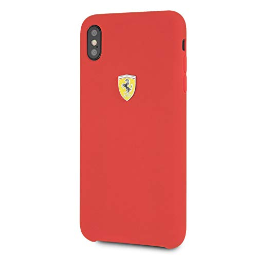 Ferrari Phone Case for iPhone Xs Max Silicone Case with Soft Microfiber Interior Red Easy Snap-on Shock Absorption Drop Protection Case Officially Licensed.