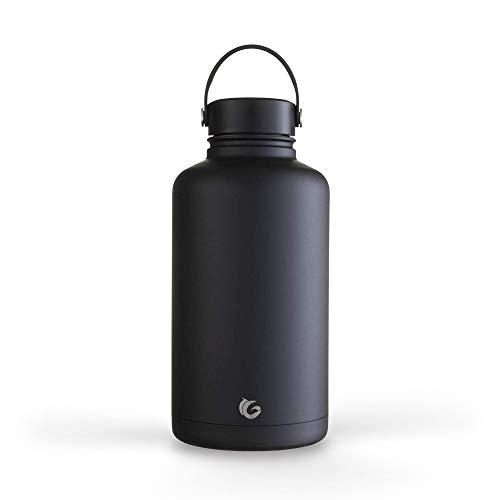 Onegreenbottle Trinkflasche aus Edelstahl, 2 Liter, Liquorice Black EPIC, vakuumisolierte Flasche aus Metall, wiederverwendbar, Bierzüchter, Wasserkanteen