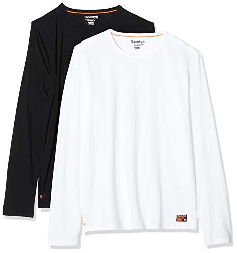 Superdry Herren Slim FIT LS Tee Double Pack Schlafanzugoberteil, Mehrfarbig (Laundry Black/Laundry White U6W), Large