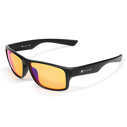 BlueX - Gafas para Gaming con Filtro de Luz Azul >90% - Relajantes para PC, Videojuegos y TV – Anti-reflejantes – Bloquean la Luz Azul de las Pantallas