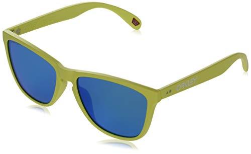 Oakley Frogskins - Gafas de sol para 35º aniversario, ajuste asiático, OS, color amarillo neón mate/zafiro prizm