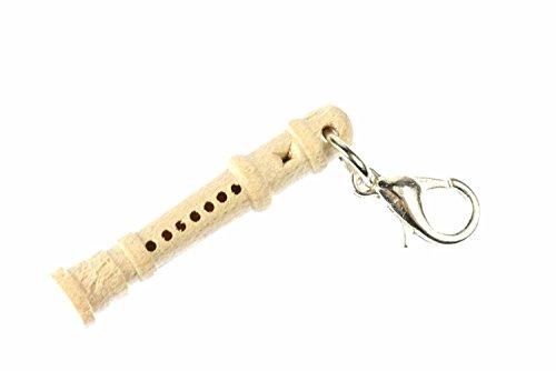 Miniblings Blockflöte Flöte Charm Flöten Holz Grundschule - Handmade Modeschmuck I Kettenanhänger versilbert - Bettelanhänger Bettelarmband - Anhänger für Armband