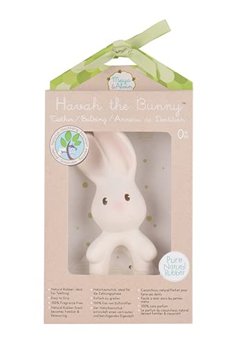 Tikiri 8571142 Naturkautschuk Beißring Havah, Hase, Babyspielzeug in Geschenkbox, für Babys und Kinder ab 0+ Monaten, 11cm