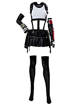 Womens Tifa Lockhart Cosplay Costume Halloween Final Fantasy VII Remake FF7 Cosplay Full Set Outfits,Large White