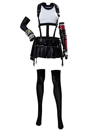 Finale Fantasy 7 Tifa Lockhart Cosplay Kostüm Erwachsene FF7 Remake Fighter Weste + Lederrock, komplettes Set Gr. Small, weiß