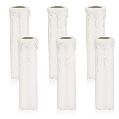 DiCUNO E14 Kerzenhülse 25 * 100MM Weiß Kunststoff Fassunghülsen Lampenfassung für Kronleuchter LED Kerzen Kronleuchte Wandleuchte Hängelampe Lampenschirme,6 Stück