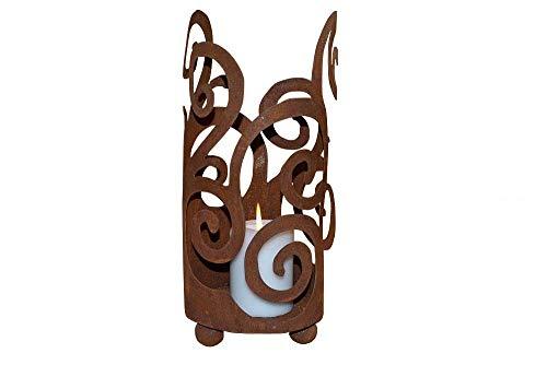Windlicht Ornament zum Stellen inkl. Kerze Metall Edelrost Rost Deko Dekoration Deko-Idee Rostdeko Gartendeko Geschenk-Idee Geschenk Sommerdeko