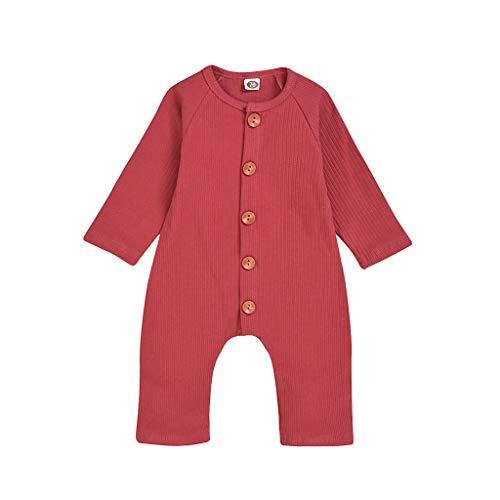 Kobay- Jungen Neugeborenes Baby Jungen Mädchen Langarm Feste Spielanzug Overall Baby Einfarbig Einteiler Kletteranzug Harness Overall (0-24M) (70,0-6 Monate, Rot)