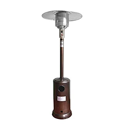 Stainless Steel Patio Heater with Wheels and Table Large, 88 inch Outdoor Propane Standing Heater (Brown)