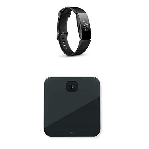 Fitbit Inspire HR, Pulsera de salud y actividad física con ritmo cardiaco, Negro + Báscula Aria Air Scales, Unisex-Adult, Negro