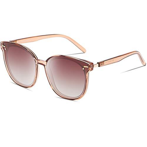 DUCO 2020最新 サングラス レディース uvカット uv400 偏光 レンズ レトロ丸型 sunglasses women 紫外線カット W017 (パープル)