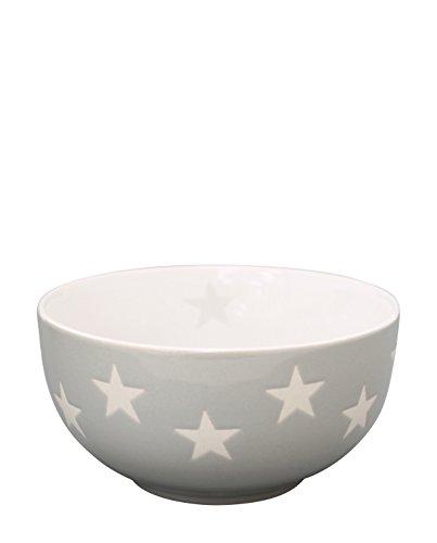 Krasilnikoff - Schüssel - Bowl - Hellgrau mit weißen Sternen Ø 13 cm