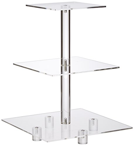 """YestBuy 3 Tier Cupcake Stand with Base, Cake Stand, Acrylic Cupcake Tower Stand, Premium Cupcake Holder For 28 Cupcakes, Display for Pastry Wedding Birthday Party (6"""" between 2 layers)"""