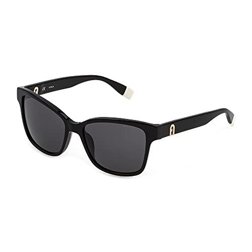 FURLA Gafas de sol SFU470 0700 54 – 16 – 135 para mujer, negro brillante, lentes ahumadas