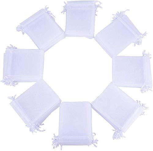 50 Bolsas de Organza Blanca con Cierre de Lazos (13x18) para Guardar Detalles de Bodas, comuniones, bautizos. para Dulces, Caramelos o pequeños Detalles.