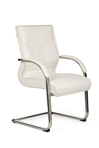 FineBuy Freischwinger Milan Besucherstuhl Bezug Kunst-Leder Weiß | Design Schwingstuhl mit Armlehnen | Meetingstuhl ergonomisch mit Kippschutz | Konferenzstuhl feststehend