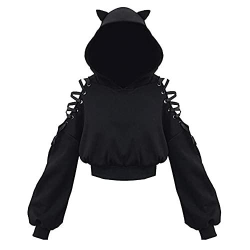 Black Crop Tops Mujeres Sudaderas con capucha y sudadera fuera del hombro con cordones con capucha