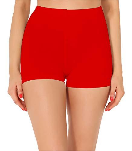 Merry Style Damen Shorts Radlerhose Unterhose Hotpants Kurze Hose Boxershorts aus Baumwolle MS10-358 (Rot, S)