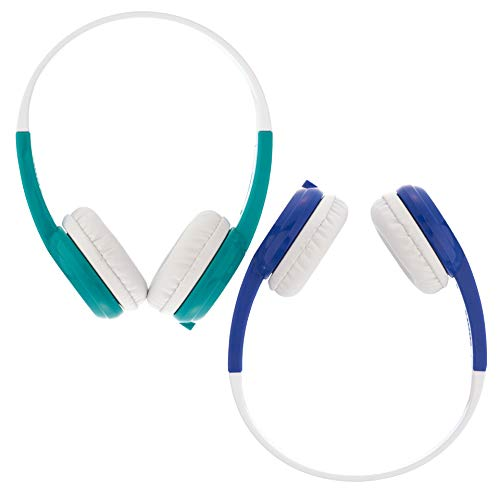 BuddyPhones Connect, Volume-Limiting Kids Headphones, Foldable, Durable, Built-in Audio Sharing Cable with in-Line Mic, Best for Kindle, iPad, iPhone and Android Devices, Blue and Green
