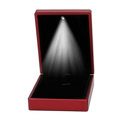 LHYLHY Anillo con luz LED para pendientes, caja de regalo, boda, compromiso, joyería de boda (color rojo)