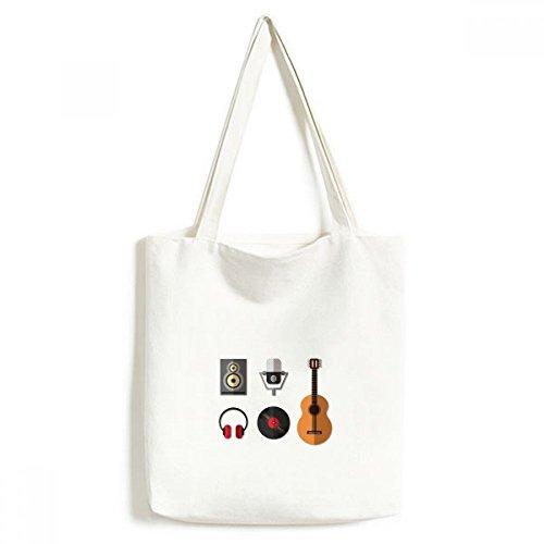 DIYthinker Gitarren-Headset CD Mikrofon Musik Muster Tasche Umwelt Tote Waschbar Craft Einkaufstaschen Geschenk