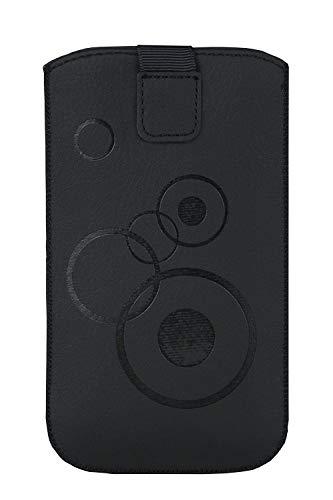Handytasche Circle schwarz geeignet für Doro 1361 und Doro 1370 - Handy Tasche Schutz Hülle Slim Hülle Cover Etui mit Klettverschluss