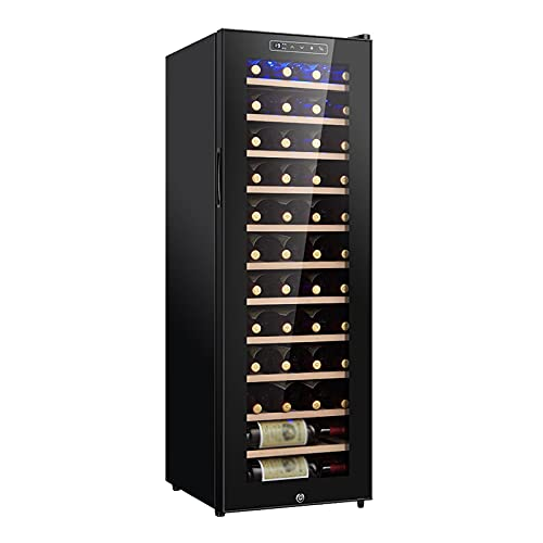 VIY Nevera vinos Vinoteca 32 Botellas Vertical, enfriamiento termoeléctrico, Ajuste electrónico de Temperatura, Panel táctil, Display,B