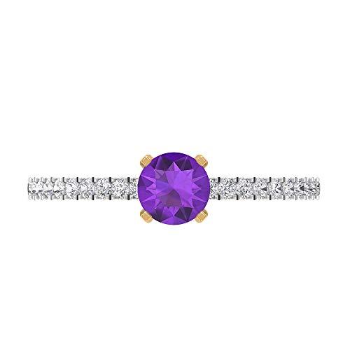 Anillo solitario de amatista de 5 mm, anillo de compromiso de diamante HI-SI, anillo de compromiso de dos tonos, oro de 14 quilates, Metal, Diamond Amethyst,