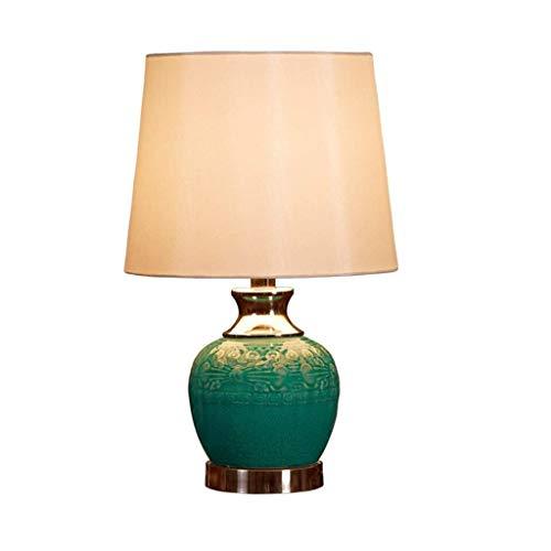 SPNEC Verde lámpara de Mesa de cerámica, Hecha a Mano de cerámica del Dormitorio Retro del Estilo Europeo de la Sala de la lámpara Mesita de Noche