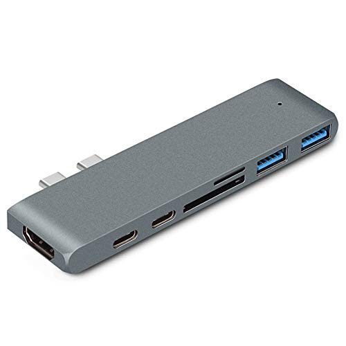USB C 3.0 Hub 4K HDMI, PD, Type-C Charging 2-In-1, TF/SD, 2 USB3.0 7-In-1 Multi-Function Adapter Space Aluminum Dongle, for Macbook Air/Pro (Gray)