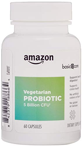 Amazon Basic Care Probiotic 5 Billion CFU, 8 Probiotic strains with 60 mg Prebiotic Blend, 60 Vegetarian Capsules, 2 Month Supply