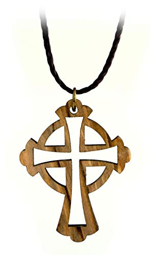 Celtic Cut-Out Cross Necklace, Holy Land Olive Wood Pendant with Cord, Religious Faith Gift for Men & Women, Christian & Catholic Orthodox Wooden Keepsake for Gift Bag or Car Mirror