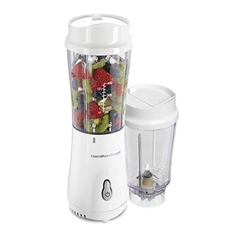 Hamilton Beach Smoothie Blender with 2 Travel Jars and 2 Lids, White 51102V