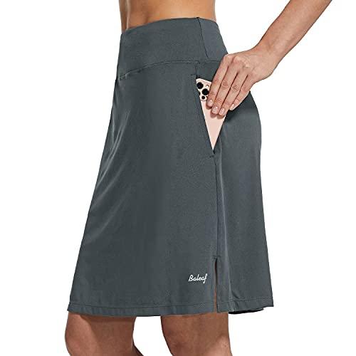 "BALEAF Women's 20"" Knee Length Skorts Skirts Athletic Modest Sports Golf Casual Skirt Zipper Pocket UV Protection Gray M"