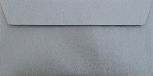 Karten24Plus 50 Briefumschläge Silber Metallic Din lang 11 x 22 cm mit Haftstreifen, Grammatur 90 g/m² für zB. Weihnachten oder Silber Hochzeit
