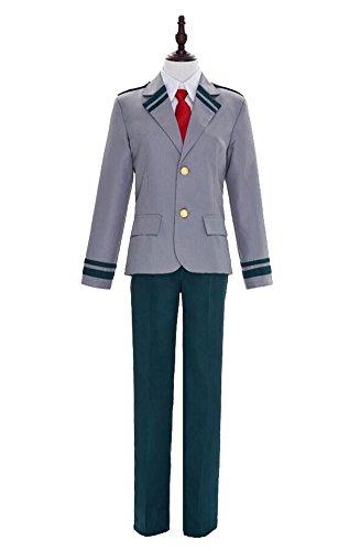 Wish Costume Shop Men's My Hero Academia Cosplay Izuku Midoriya U.A.High School Male School Unifrom (M, Grey)