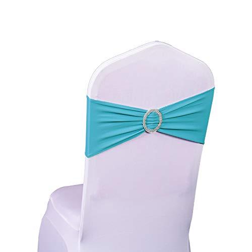 Bandeau de chaise élastique à enfiler avec boucle pour mariage nœud de chaise en Lycra , Turquoise, 50PC