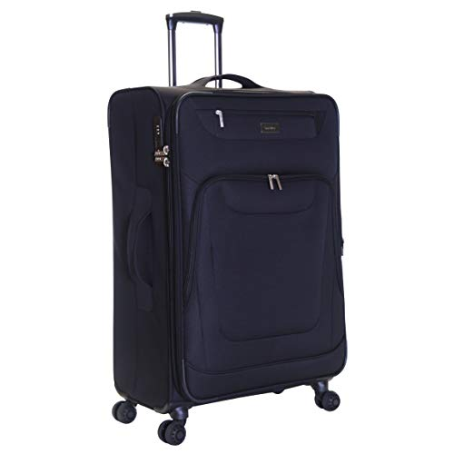 Karabar Extra Large Expandable Suitcase Luggage Bag Lightweight XL 78 cm 4.2 kg 105 litres Soft Shell with 4 Spinner Wheels and Integrated TSA Number Lock, Mayfair Black