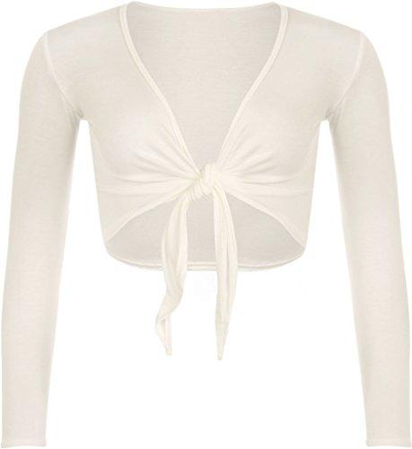 F&F nieuwe Womens dames lange mouwen Tie voorzijde Bolero bijgesneden Shrug Top vest (XL, Off White)