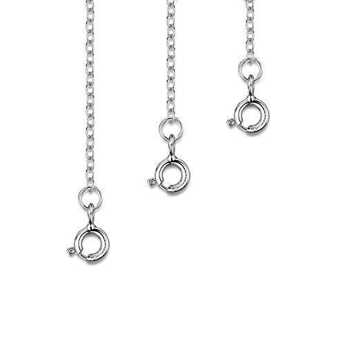 Amberta Echt 925 Sterling Silber - Überzogen mit Rhodium - Verlängerungskette für Damen - Panzerkette 2 mm - Verarbeitet um Ihre Colliers und Armband zu Verlängern - Länge : 25, 50 und 100 mm