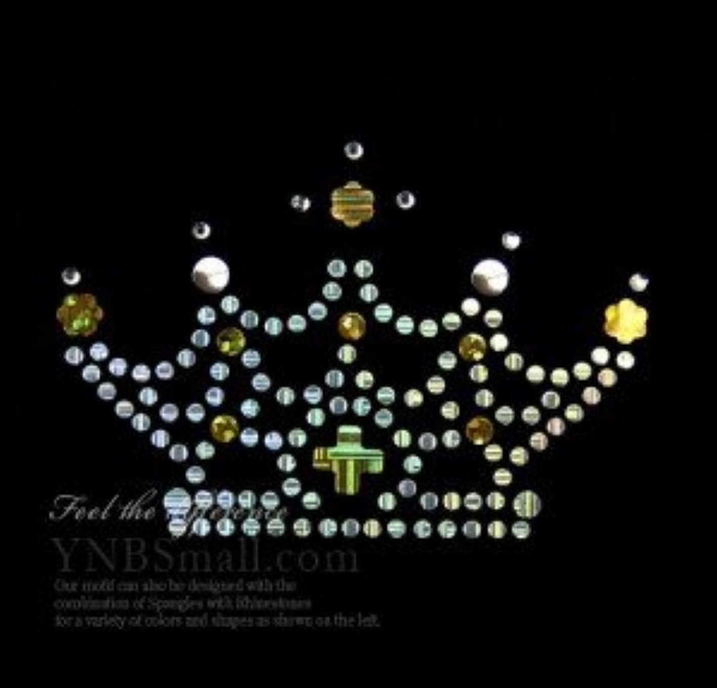 見る人不条理新鮮な【コンビネーション】ラインストーン&スパングル スパンコールモチーフ ホットフィックス 【S】 王冠