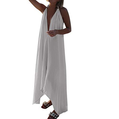 MAYOGO Damen Casual Sommerkleider Strandkleid Rückenfrei Neckholder Freizeitkleid Strand Vertuschen Kleider Tunika