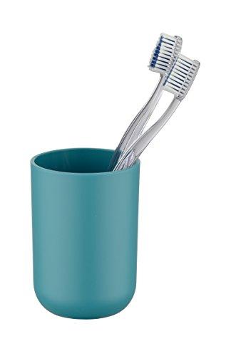 Wenko Zahnputzbecher Brasil, Zahnbürstenhalter für das Badezimmer, Becher aus bruchsicherem Kunststoff, Ø 7,3 x 10,3 cm, petrol