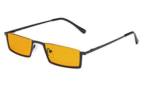 Eyekepper Kwaliteit Spring scharnieren halve rand oranje getinte lenzen computer leesbril +1.25 Zwart frame-bb98 lens