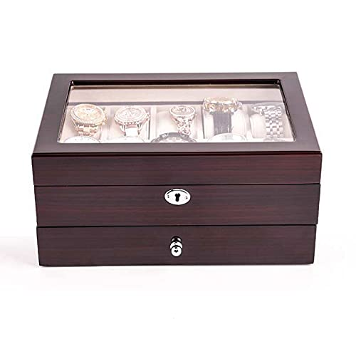 CHENMAO Caja de joyería de estilo europeo pintura de piano pintura de madera maciza caja de reloj de 10 dígitos recolección mecánica caja de colección reloj de madera caja de almacenamiento de joyería