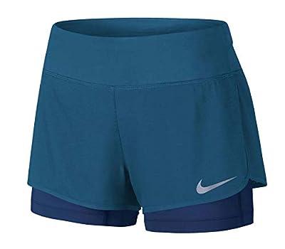 NIKE Women's Dri-Fit Flex 2 in 1 Running Shorts-Industrial Blue